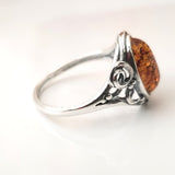 antique sterling silver amber ring