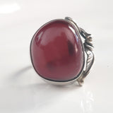 natural red amber ring