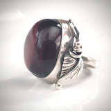 antique sterling silver cherry amber ring