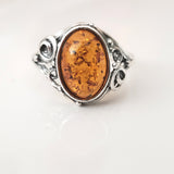 antique amber silver ring