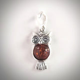 Sterling Silver Baby Owl Charm with Natural Amber