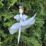 ballerina Christmas ornament in white dress