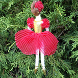 ballerina Christmas ornament in red dress