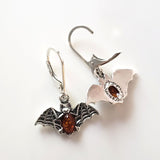 solid silver bat earrings