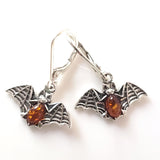 bats  silver amber earrings