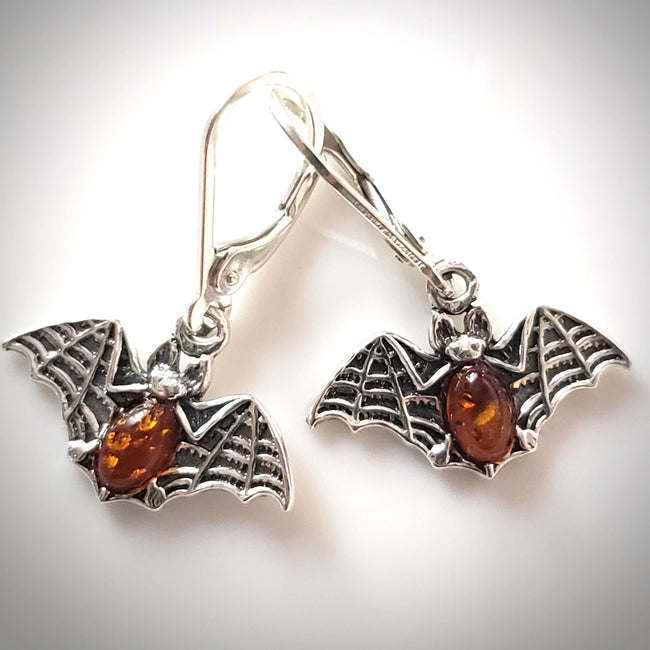 bat earrings sterling silver and amber