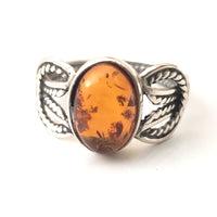 oval honey amber belt ring