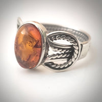 belt design silver amber ring