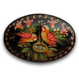 Russian Folk Art oval black brooch Birds on nest