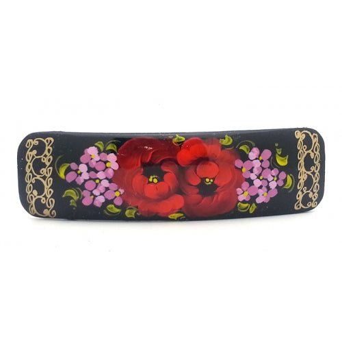 Black Rectangular Hair Clip barrette with Flowers