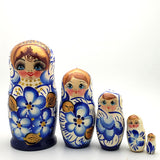 blue with gold nesting doll