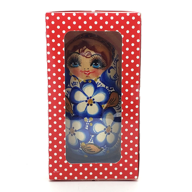 blue with gold nesting doll in gift box