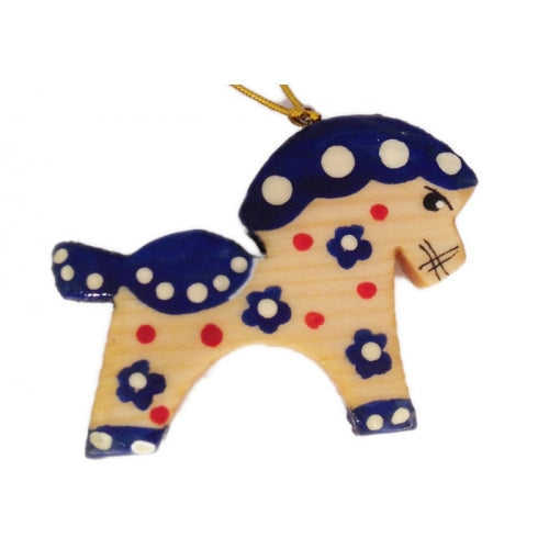 Blue Horse Wooden Christmas Ornament