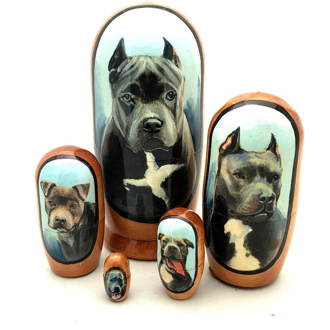 buyrussiangifts-store - Blue Nose Pitbull Dog Breed Russian Doll Set 4