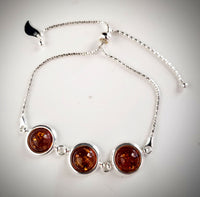 Bolo Chain Sterling Silver with Baltic Amber Adjustable Blacelet