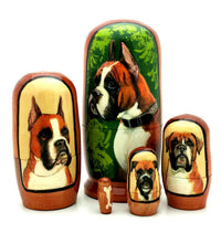 "Boxer Puppy Nesting Doll Set 4"" Tall"