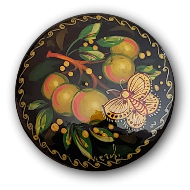 Butterfly on Apple Tree handpainted brooch Russian pin