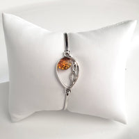 Sterling Silver with Natural Amber Buckle Bracelet