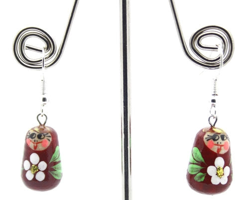 Burgundy with Flower Matryoshka Doll Earrings