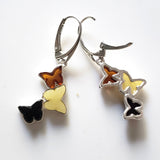 multicolor  amber butterfly earrings