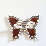 cognac amber butterfly adjustable ring