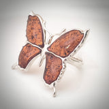 Large butterfly silver amber ring