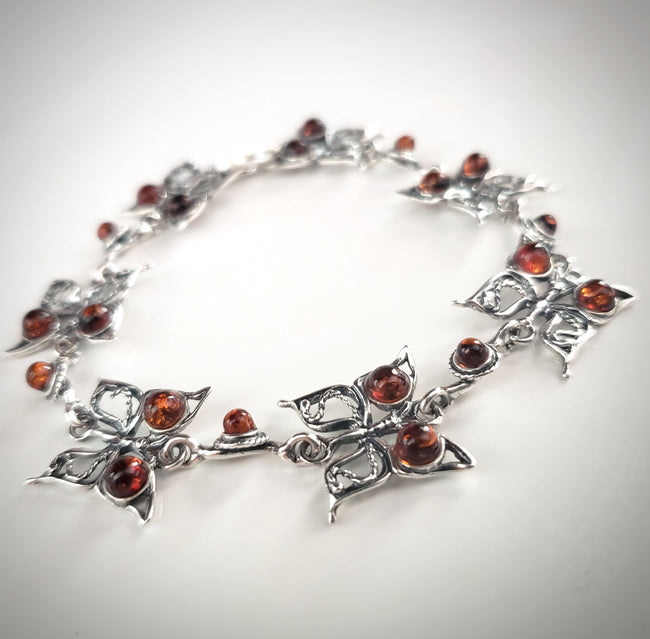 butterfly silver with natural amber bracelet