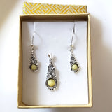 butterscotch amber sterling silver earrings and pendant jewelry set in box
