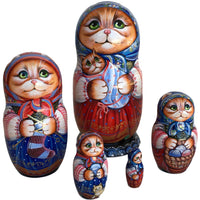 Red Cat with Kitten Nesting Dolls from Russia
