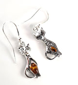 Silver Cat with Honey Amber Earrings