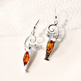 Amber cat silver earrings