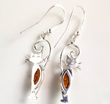 Cat with Long Tail Amber Sterling Silver Hook Earrings