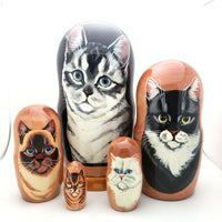 "buyrussiangifts-store - Cat Nesting Matryoshka Doll 7"" Tall Set - BuyRussianGifts Store - Nesting doll"