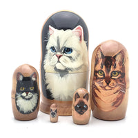 "buyrussiangifts-store - Cat Stacking Matryoshka Doll 4"" Tall Set - BuyRussianGifts Store - Nesting doll"