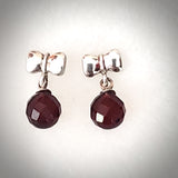 cherry amber round bead earrings