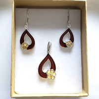 cherry amber leaf with butterscotch amber flower earring pendant set  in gift box