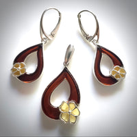 cherry amber leaf with butterscotch amber flower earring pendant set