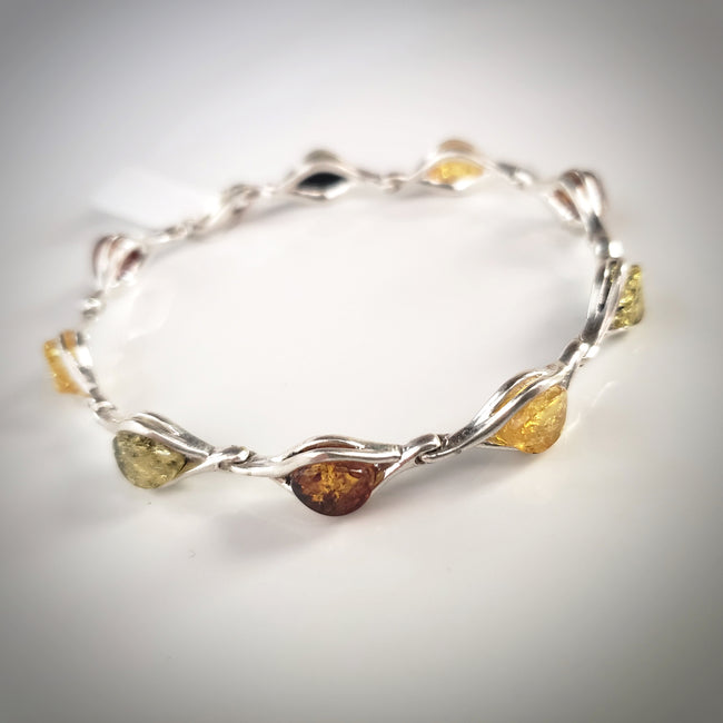 classic multicolor amber silver bracelet