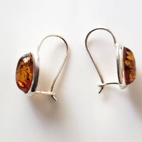 oval gangle amber earrings in silver