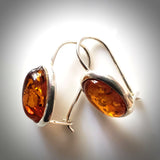 classic oval amber earrings in silver