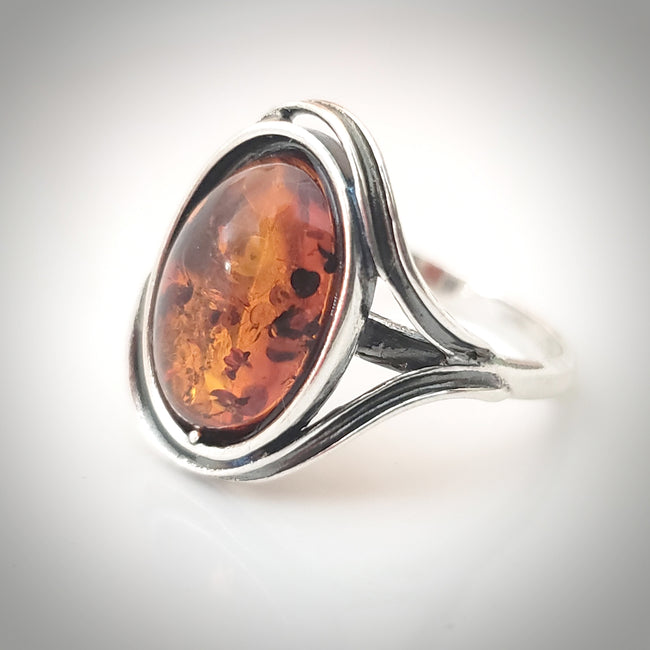 classic oval amber silver ring