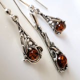 natural amber sterling silver earrings pendant jewelry set