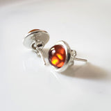 amber silver round stud earrings