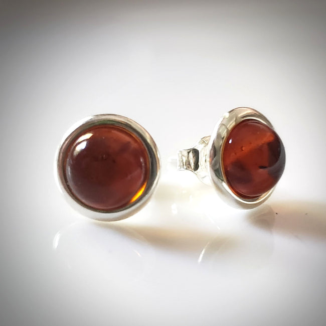 cognac amber round stud earrings