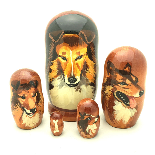 Collie dog Nesting Doll Set 4