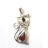 Curly Tail Cat Pendant in Sterling Silver with Real Amber