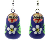 buyrussiangifts-store - Dark Blue with Flower Nesting Doll Earrings - BuyRussianGifts Store - Souvenirs