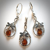 dragonfly sterling silver earrings pendant set with amber