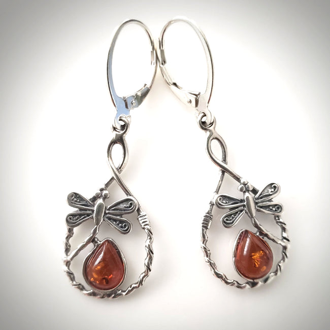 dragonfly silver earrings with amber