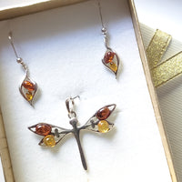 sterling silver dragonfly pendant with earrings set in box